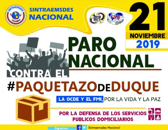 SINTRAEMSDES APOYA EL PARO NACIONAL