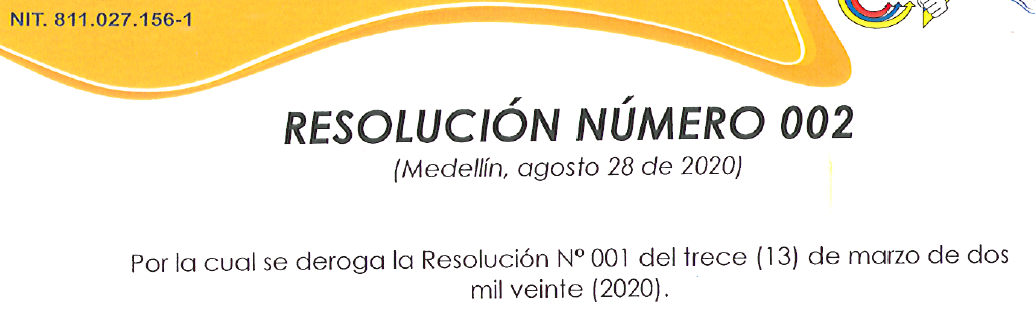 RESOLUCIÓN 02, 28 DE AGOSTO DE 2020