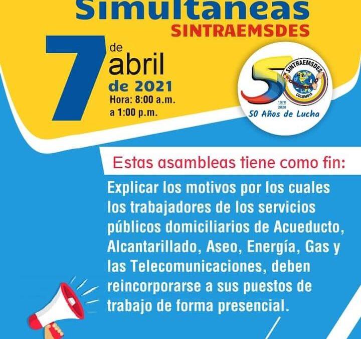 ASAMBLEAS SIMULTANEAS SINTRAEMSDES